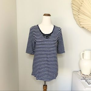J Crew Striped T-Shirt Top Size Small S Blue White